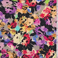 Black Multi Rose Print Activewear/Swimwear