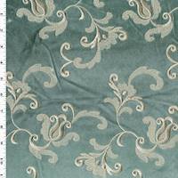 * 2 3/8 YD PC--Misty Green/Taupe Vine Embroidered Velvet Decor Fabric