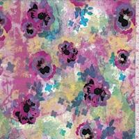 Jade/Magenta/Purple Mottled Floral Knit Activewear