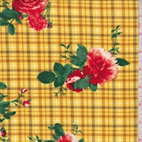 Yellow/Red Plaid Floral Double Brushed Jersey Knit