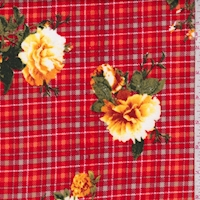 Red/Yellow Plaid Floral Double Brushed Jersey Knit