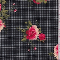 Black/Raspberry Plaid Floral Double Brushed Jersey Knit
