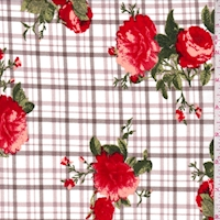 White/Red Plaid Floral Double Brushed Jersey Knit