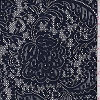 Dark Navy Stylized Floral Lace