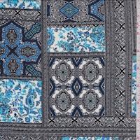Black/White/Blue Moroccan Block Crepon