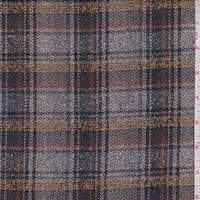 Stone Grey/Pewter/Gold Wool Blend Plaid Jacketing