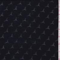 Black Scallop Stripe Rayon Challis