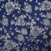 *5 YD PC--Deep Blue/Gold Floral Stretch Brocade