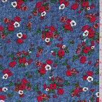 *2 1/2 YD PC--Blue Multi Mini Floral Rayon Challis