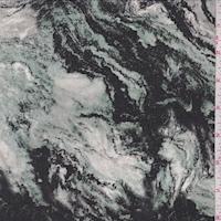 *3 1/4 YD PC--Jade/Black Marble Swirl Silk Crepe de Chine