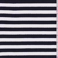 *1 1/4 YD PC--White/Black Stripe Jersey Rib Knit