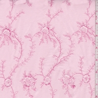 Pink Embroidered Floral Baby Wale Corduroy