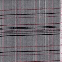 Grey/Ruby/Black Plaid Flannel Suiting