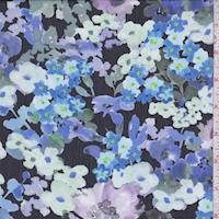 Black/Violet/Sea Green Floral Crinkle Chiffon