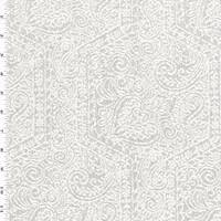 *1 1/4 YD PC--White/Gray Textured Paisley Double Jacquard Decorating Fabric