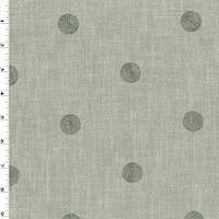 *1 YD PC--Gray Circle Embroidered Micro Basketweave Decor Fabric