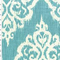 *2 3/4 YD PC--Teal/White Ikat Baroque Print Canvas Home Decorating Fabric