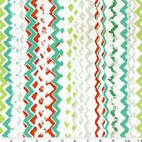 *2 1/2 YD PC--Green/Orange/Multi Abstract Chevron Print Twill Decor Fabric