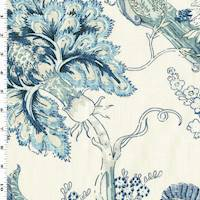 *2 1/4 YD PC--Blue/White Floral Print Linen Blend Home Decorating Fabric