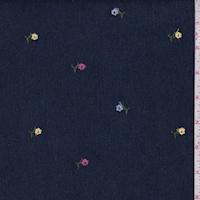 Dark Blue Embroidered Floral Stretch Denim