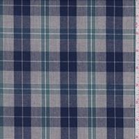 Heather Grey/Blue/Spruce Plaid Shirting