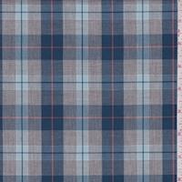 Heather Grey/Teal/Blue Plaid Shirting