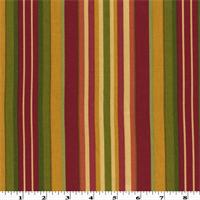 *6 YD PC--Red/Multi Cotton Stripe Printed Twill Decorating Fabric
