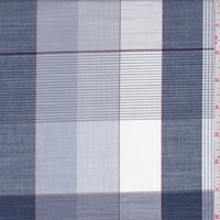 Vintage Navy Plaid Cotton Shirting