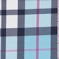 Turquoise Plaid Cotton Shirting