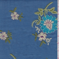 Ocean Blue Embroidered Floral Linen Look