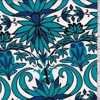 Ivory/Aqua/Blue Stylized Floral Rayon Jersey Knit
