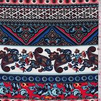 White/Red/Blue Deco Stripe Crepe De Chine