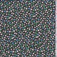 Black/Kelly/Blue Mini Clover Crepe Georgette