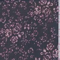 *2 YD PC--Black/Plum Mottled Floral Georgette