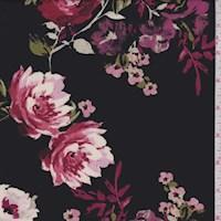 *3 7/8 YD PC--Black/Cranberry Rose ITY Jersey Knit