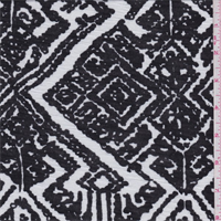 *2 YD PC--Black/White Tribal Diamond Rayon Jersey Knit