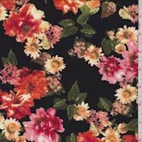 *1 1/2 YD PC--Black/Orange Floral Cluster Liverpool Knit
