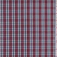 *5 5/8 YD PC--Cranberry Plaid Cotton Shirting