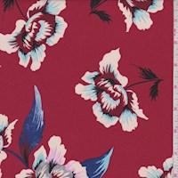 *1 YD PC--Brick Red Floral Bloom Rayon Georgette