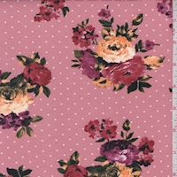 *2 3/8 YD PC--Dark Blush Floral Dot Double Brushed Jersey Knit