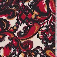 *2 YD PC--White/Ruby Ikat Paisley Ponte Double Knit