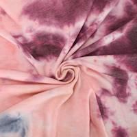 *4 1/2 YD PC--Indigo/Burgundy/Tobacco Tie Dye French Terry Knit