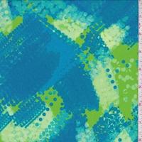 *1 YD PC--Aqua/Lime Dotted Patchwork Swimwear