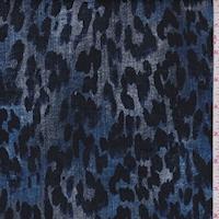 Blue Mottled Cheetah Stretch Denim