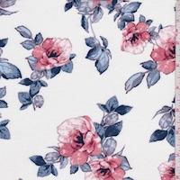 White/Blue/Salmon Floral Twill Challis