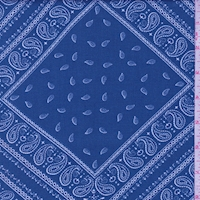 Ocean Blue Paisley Tile Twill Challis