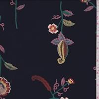Navy Ink Floral Print Challis