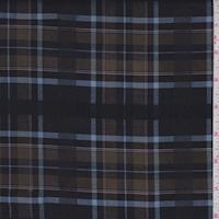 Dark Navy/Olive Brown Plaid Shirting
