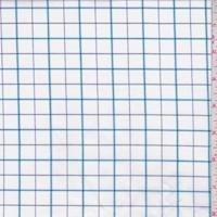 White/Aqua/Navy Windowpane Check Shirting