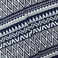 *5 YD PC--Navy Blue/White Tribal Stripe Double Knit